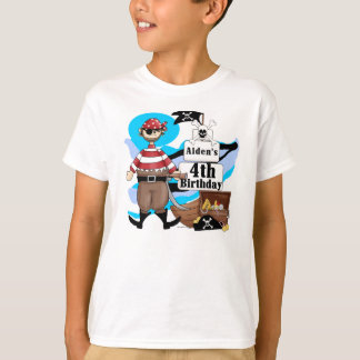 4ta camiseta del cumpleaños del pirata de encargo