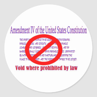 4ta enmienda - vacío donde prohibido por la ley etiqueta redonda