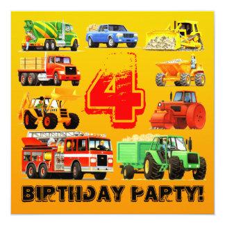 """4ta fiesta de cumpleaños de los camiones grandes invitación 5.25"""" x 5.25"""""""