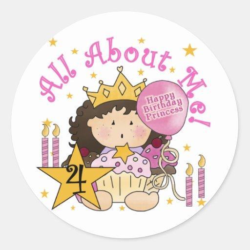 4tas camisetas del cumpleaños de princesa All Pegatinas Redondas