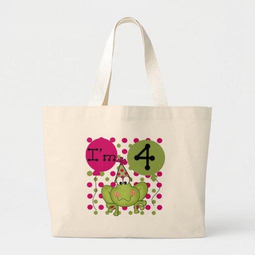 4tas camisetas y regalos del cumpleaños de la rana bolsa