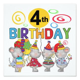 """4tas camisetas y regalos del cumpleaños de los invitación 5.25"""" x 5.25"""""""