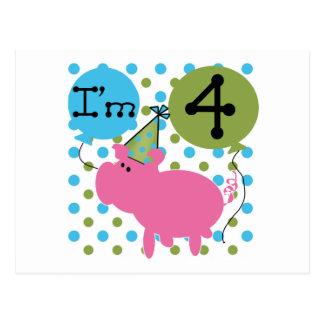4tas camisetas y regalos del cumpleaños del cerdo postales
