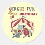 4tas camisetas y regalos del cumpleaños del circo pegatina redonda
