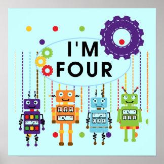 4tas camisetas y regalos del cumpleaños del robot póster