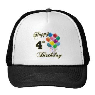 4tas gorras de béisbol y gorras felices del cumple
