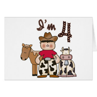 4tas invitaciones del cumpleaños del vaquero tarjeta pequeña