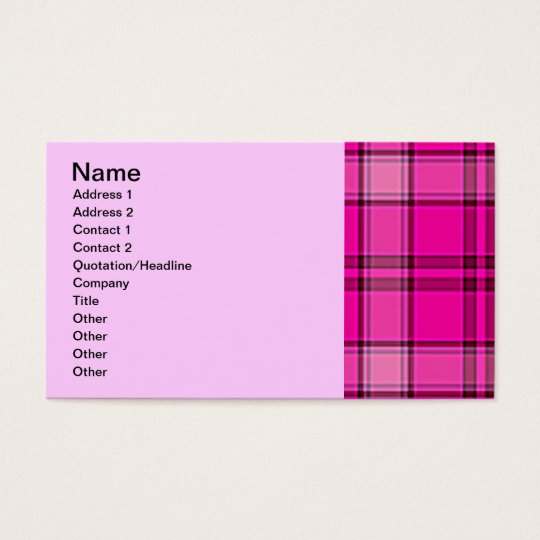 4TB HOT PINK PURPLES GIRLY TARTAN STYLE PLAID BACK BUSINESS CARD