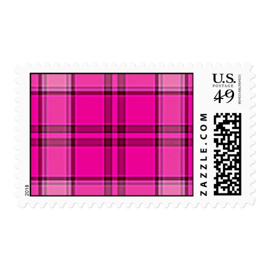 4TB HOT PINK PURPLES GIRLY TARTAN STYLE PLAID BACK POSTAGE