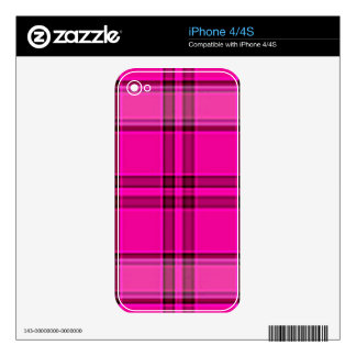 4TB HOT PINK PURPLES GIRLY TARTAN STYLE PLAID BACK iPhone 4S SKIN