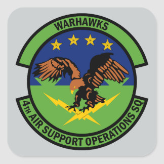 4th Air Support Operations Squadron - Warhawks Square Sticker