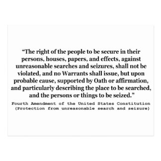 4th Amendment of the United States Constitution Postcard