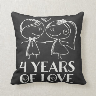 4th Anniversary Wedding Decorative Throw Pillows Zazzle