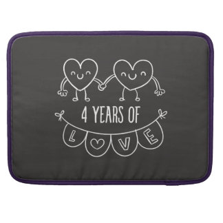 4th Anniversary Gift Chalk Hearts Sleeve For MacBook Pro