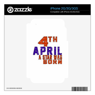 4th April a star was born iPhone 3G Decal