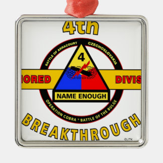 """4TH ARMORED DIVISION """"BREAKTHROUGH"""" METAL ORNAMENT"""