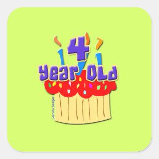 4th Birthday 4 Yr. Old Square Sticker