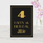 "[ Thumbnail: 4th Birthday – Art Deco Inspired Look ""4"" & Name Card ]"
