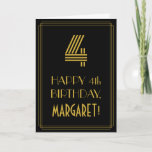 "[ Thumbnail: 4th Birthday: Art Deco Inspired Look ""4"" & Name Card ]"