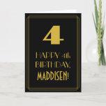 "[ Thumbnail: 4th Birthday ~ Art Deco Inspired Look ""4"" & Name Card ]"