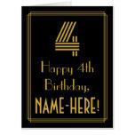 "[ Thumbnail: 4th Birthday: Art Deco Inspired Look ""4"" + Name Card ]"