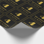 """[ Thumbnail: 4th Birthday ~ Art Deco Inspired Look """"4"""", Name Wrapping Paper ]"""