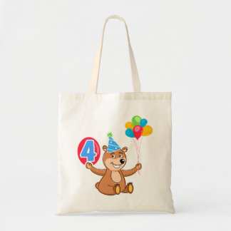 4th Birthday Bear with Balloons Canvas Bags