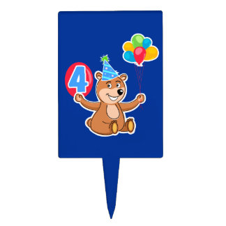 4th Birthday Bear with Balloons Cake Pick