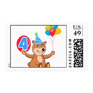 4th Birthday Bear with Balloons Postage Stamp