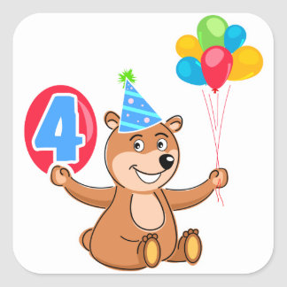 4th Birthday Bear with Balloons Stickers