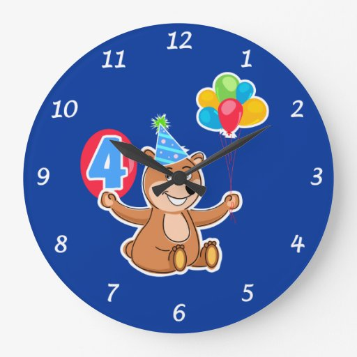 4th Birthday Bear with Balloons Wall Clock