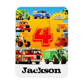 4th Birthday Big Trucks Vinyl Magnet
