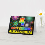 [ Thumbnail: 4th Birthday: Bold, Fun, Fireworks, Rainbow 4 Card ]