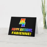 [ Thumbnail: 4th Birthday: Bold, Fun, Simple, Rainbow 4 Card ]