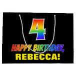 [ Thumbnail: 4th Birthday: Bold, Fun, Simple, Rainbow 4 Gift Bag ]