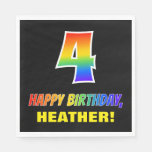 [ Thumbnail: 4th Birthday: Bold, Fun, Simple, Rainbow 4 Napkins ]