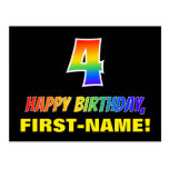 [ Thumbnail: 4th Birthday: Bold, Fun, Simple, Rainbow 4 Postcard ]