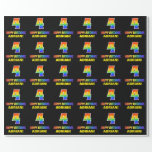 [ Thumbnail: 4th Birthday: Bold, Fun, Simple, Rainbow 4 Wrapping Paper ]