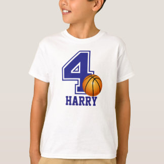 4th Birthday boy basketball personalized T-Shirt