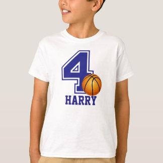 4th Birthday boy basketball personalized T-Shirt