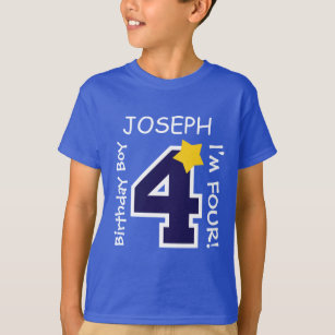 4th Birthday Boy BLUE One Year Custom Name A03A T Shirt