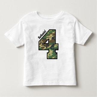 4th Birthday Boy Camo Four Year Custom Name V007D Tee Shirt