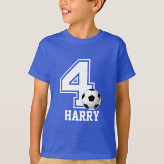 4th Birthday boy soccer personalized-2 T-Shirt