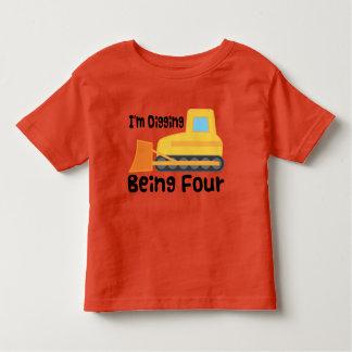 4th Birthday Bulldozer Construction Truck Toddler T Shirt