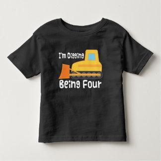 4th Birthday Bulldozer Construction Truck Toddler T-shirt