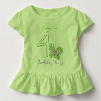4th Birthday Butterfly Hugs Custom Name Toddler T-shirt