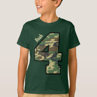 4th Birthday Camouflage Four Year Custom Name V01Y T-Shirt
