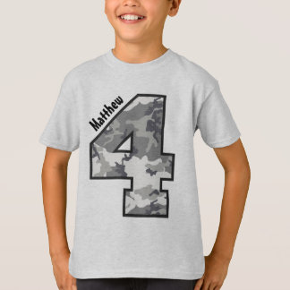 4th Birthday Camouflage Four Year Custom Name V01Z T-Shirt