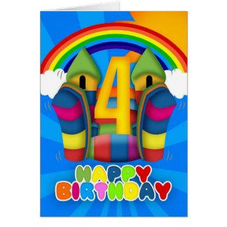 4th Birthday Card With Bouncy Castle And Rainbow