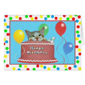 4th Birthday Card with Cat on a Cake